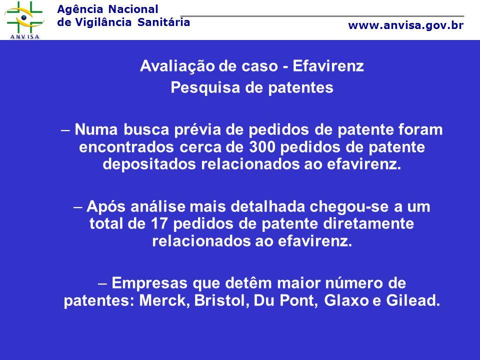 Agência Nacional de Vigilância Sanitária www.anvisa.gov.br Avaliação de caso - Efavirenz Pesquisa de patentes – Numa busca prévia de pedidos de patent