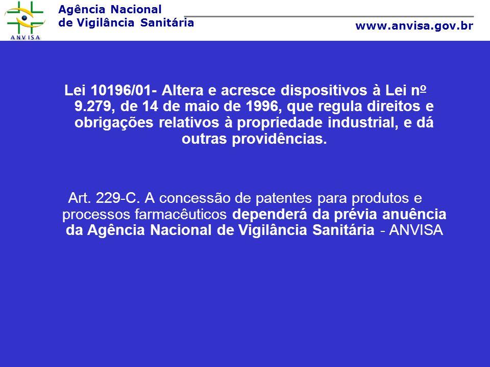 Agência Nacional de Vigilância Sanitária www.anvisa.gov.br Lei 10196/01- Altera e acresce dispositivos à Lei n o 9.279, de 14 de maio de 1996, que reg