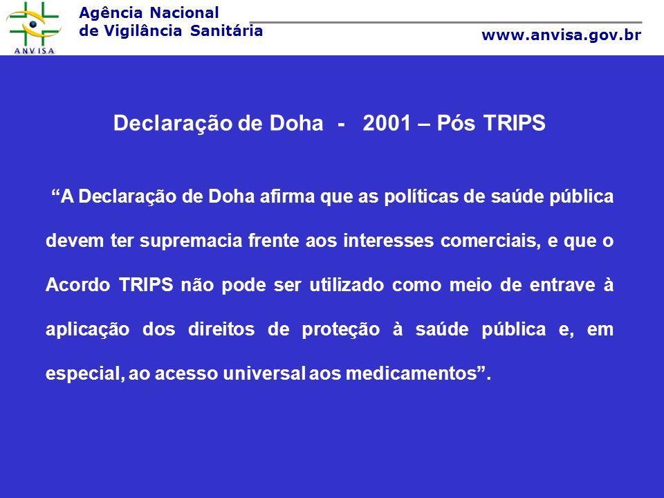 Agência Nacional de Vigilância Sanitária www.anvisa.gov.br Declaração de Doha - 2001 – Pós TRIPS A Declaração de Doha afirma que as políticas de saúde