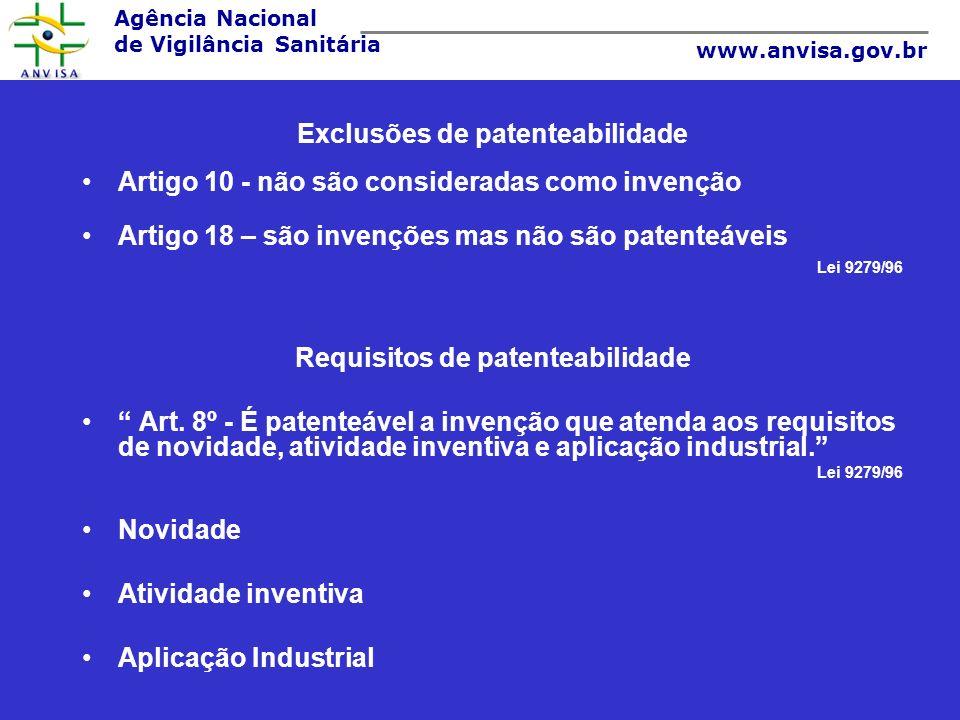 Agência Nacional de Vigilância Sanitária www.anvisa.gov.br Exclusões de patenteabilidade Artigo 10 - não são consideradas como invenção Artigo 18 – sã