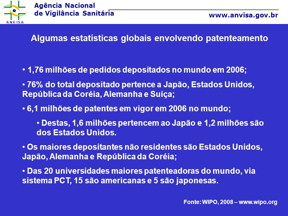 Agência Nacional de Vigilância Sanitária www.anvisa.gov.br Algumas estatísticas globais envolvendo patenteamento O maior índice de aumento no depósito de pedidos de patente de não residentes de 2005 para 2006 foi em Israel, Brasil e Hong Kong; Países emergentes: Brasil, China, Índia e México.