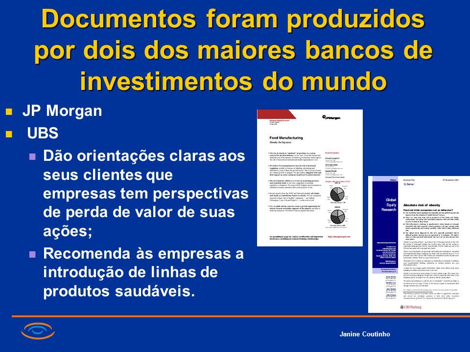 Janine Coutinho Documentos foram produzidos por dois dos maiores bancos de investimentos do mundo JP Morgan UBS Dão orientações claras aos seus client