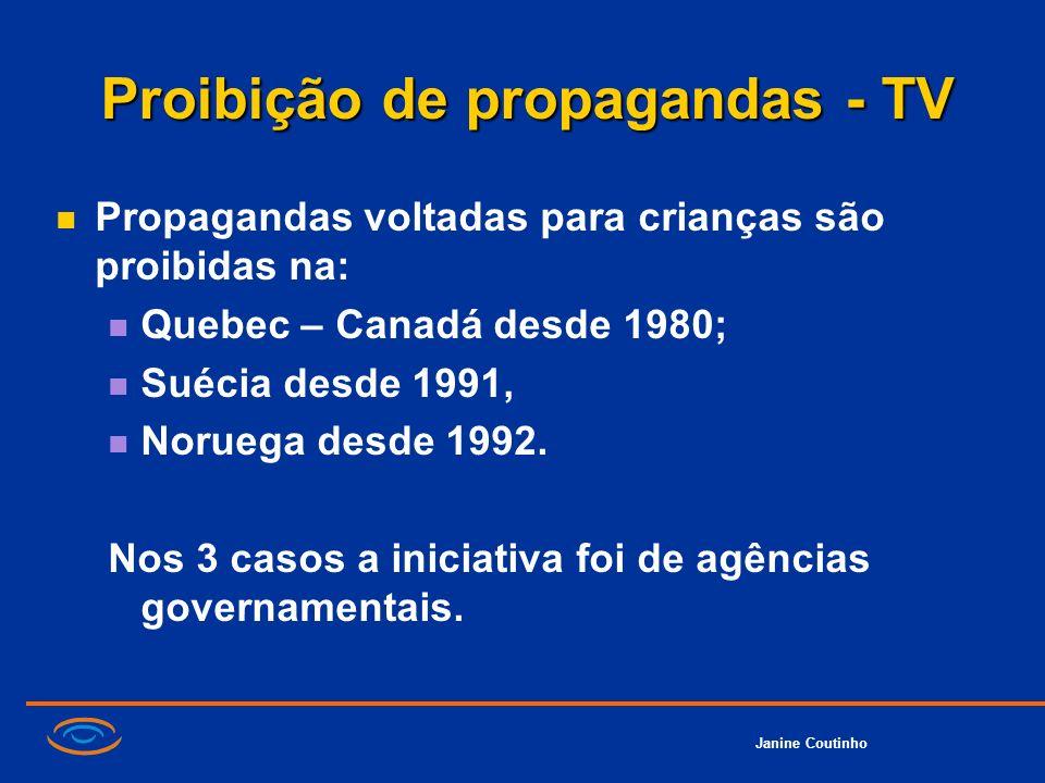 Janine Coutinho Proibição de propagandas - TV Propagandas voltadas para crianças são proibidas na: Quebec – Canadá desde 1980; Suécia desde 1991, Noru