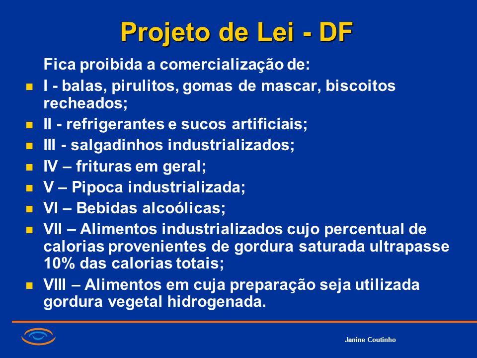 Janine Coutinho Projeto de Lei - DF Fica proibida a comercialização de: I - balas, pirulitos, gomas de mascar, biscoitos recheados; II - refrigerantes