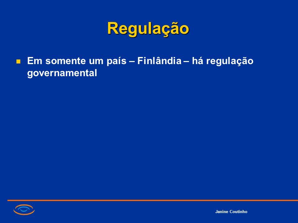 Janine Coutinho Regulação Em somente um país – Finlândia – há regulação governamental