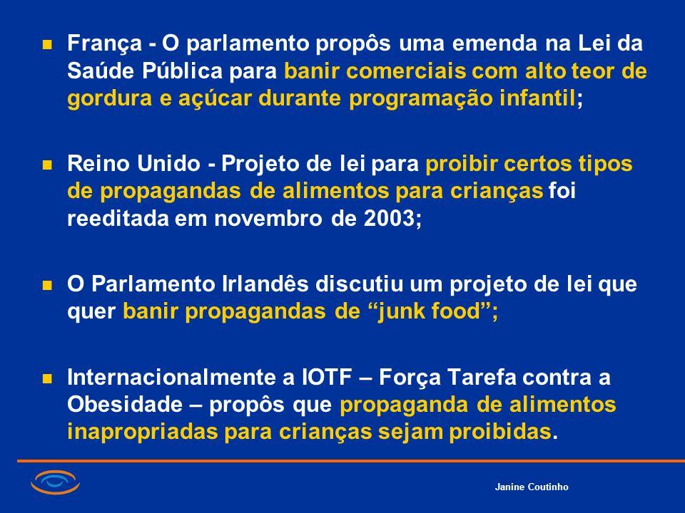 Janine Coutinho França - O parlamento propôs uma emenda na Lei da Saúde Pública para banir comerciais com alto teor de gordura e açúcar durante progra