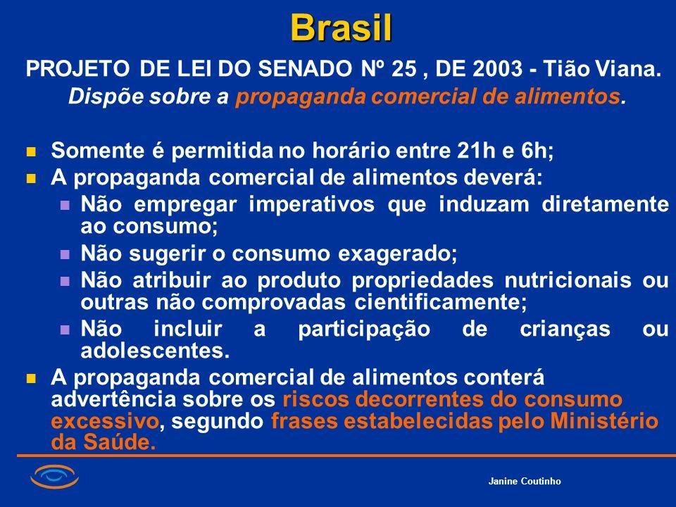 Janine CoutinhoBrasil PROJETO DE LEI DO SENADO Nº 25, DE 2003 - Tião Viana. Dispõe sobre a propaganda comercial de alimentos. Somente é permitida no h