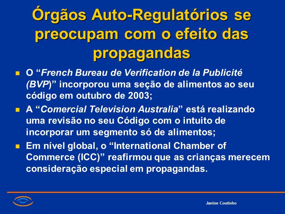 Janine Coutinho Órgãos Auto-Regulatórios se preocupam com o efeito das propagandas O French Bureau de Verification de la Publicité (BVP) incorporou um