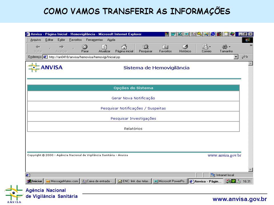 Agência Nacional de Vigilância Sanitária www.anvisa.gov.br COMO VAMOS TRANSFERIR AS INFORMAÇÕES