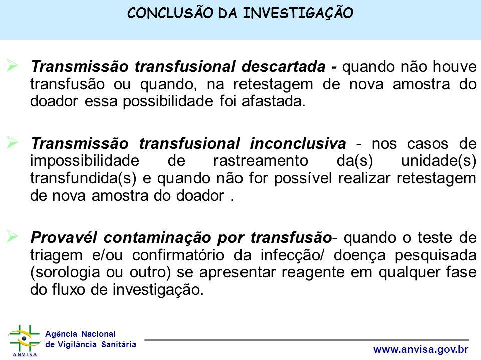Agência Nacional de Vigilância Sanitária www.anvisa.gov.br CONCLUSÃO DA INVESTIGAÇÃO Transmissão transfusional descartada - quando não houve transfusã