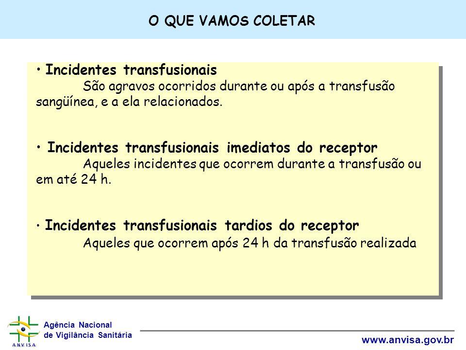Agência Nacional de Vigilância Sanitária www.anvisa.gov.br Incidentes transfusionais São agravos ocorridos durante ou após a transfusão sangüínea, e a