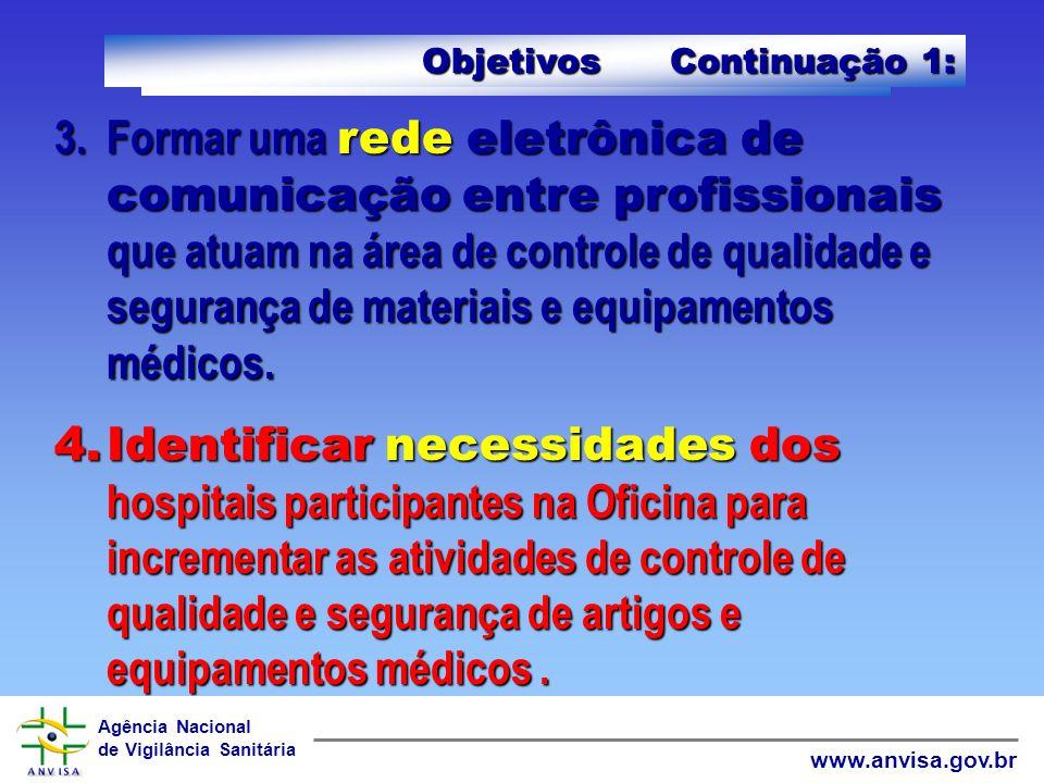 Agência Nacional de Vigilância Sanitária www.anvisa.gov.brObjetivos: 1.Elevar a prática de controle de qualidade e segurança de materiais e equipament