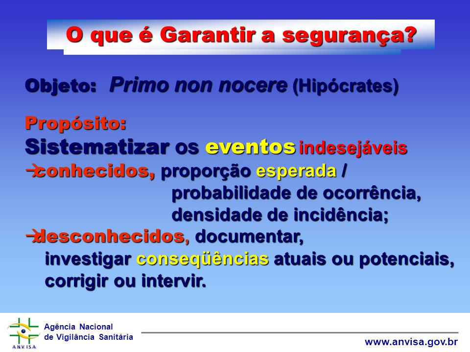Agência Nacional de Vigilância Sanitária www.anvisa.gov.br O que é Garantir a segurança.