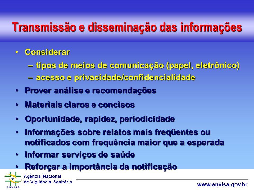 Agência Nacional de Vigilância Sanitária www.anvisa.gov.br Gerentes de risco - responsabilidades Receber e avaliar notificaçõesReceber e avaliar notif