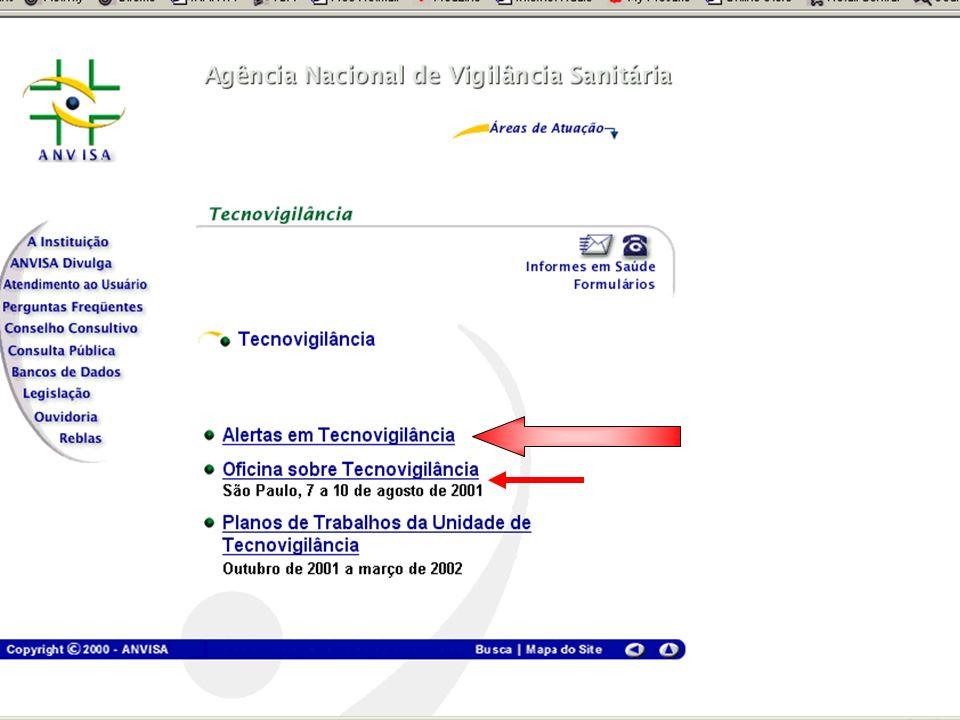 Agência Nacional de Vigilância Sanitária www.anvisa.gov.br http://www.anvisa.gov.br Tecnovigilância