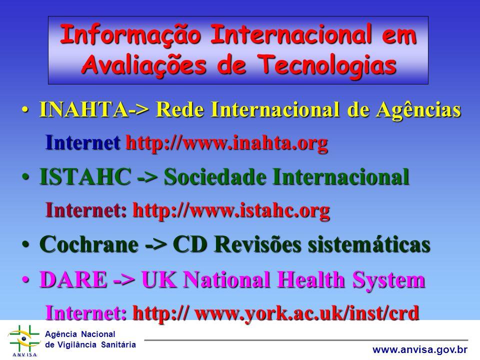 Agência Nacional de Vigilância Sanitária www.anvisa.gov.br World Wide Web Estudos Clínicos de efeito e segurançaEstudos Clínicos de efeito e segurança