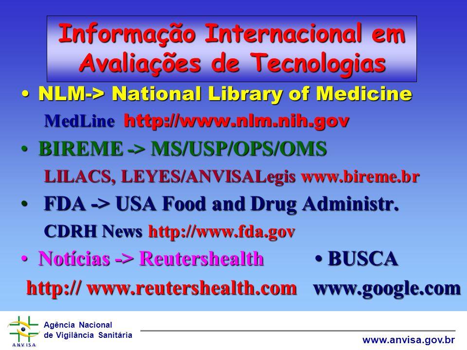 Agência Nacional de Vigilância Sanitária www.anvisa.gov.br Informação Internacional em Avaliações de Tecnologias INAHTA-> Rede Internacional de Agênci