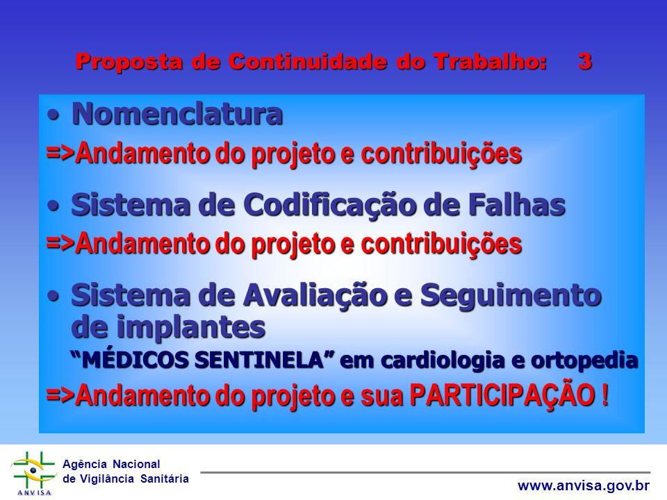 Agência Nacional de Vigilância Sanitária www.anvisa.gov.br Proposta de Continuidade do Trabalho: 2 Estruturação das Equipes de Engenharia Clínica e Ma