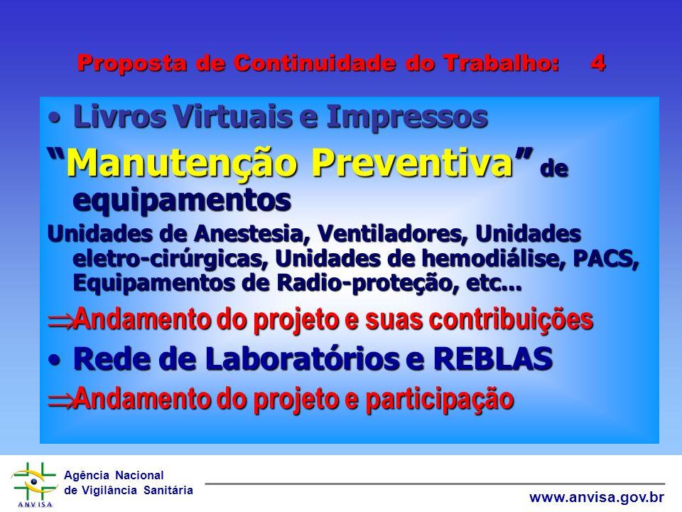 Agência Nacional de Vigilância Sanitária www.anvisa.gov.br Proposta de Continuidade do Trabalho: 3 NomenclaturaNomenclatura =>Andamento do projeto e c