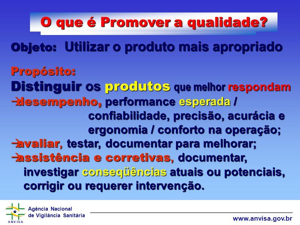 Agência Nacional de Vigilância Sanitária www.anvisa.gov.br O que é Manter a qualidade? Objeto: Cumprir com o prometido Propósito: Manter os fatores da