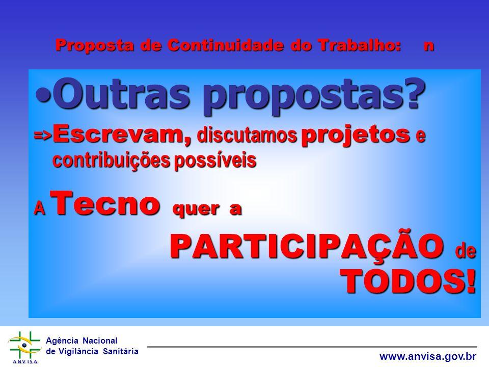 Agência Nacional de Vigilância Sanitária www.anvisa.gov.br Proposta de Continuidade do Trabalho: 4 Livros Virtuais e ImpressosLivros Virtuais e Impres
