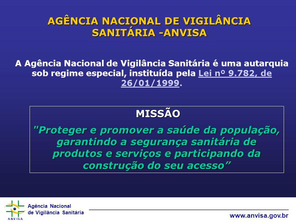 Agência Nacional de Vigilância Sanitária www.anvisa.gov.br AGÊNCIA NACIONAL DE VIGILÂNCIA SANITÁRIA -ANVISA MISSÃO MISSÃO Proteger e promover a saúde da população, garantindo a segurança sanitária de produtos e serviços e participando da construção do seu acesso A Agência Nacional de Vigilância Sanitária é uma autarquia sob regime especial, instituída pela Lei nº 9.782, de 26/01/1999.Lei nº 9.782, de 26/01/1999