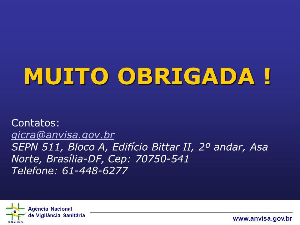 Agência Nacional de Vigilância Sanitária www.anvisa.gov.br MUITO OBRIGADA ! Contatos: gicra@anvisa.gov.br SEPN 511, Bloco A, Edifício Bittar II, 2º an