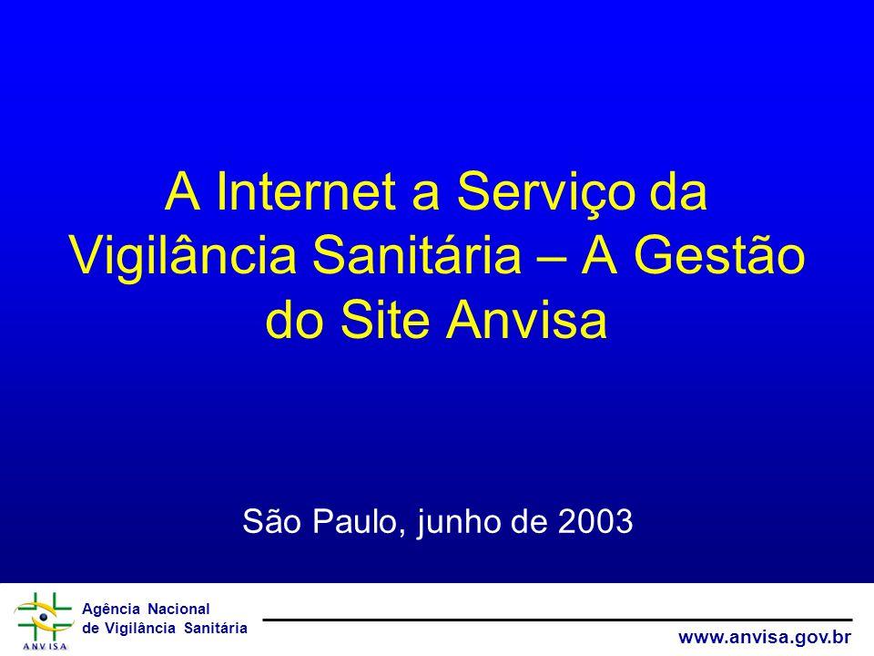 Agência Nacional de Vigilância Sanitária www.anvisa.gov.br A gestão do site é avaliada diretamente pelos clientes (outras unidades da ANVISA e usuários do site).