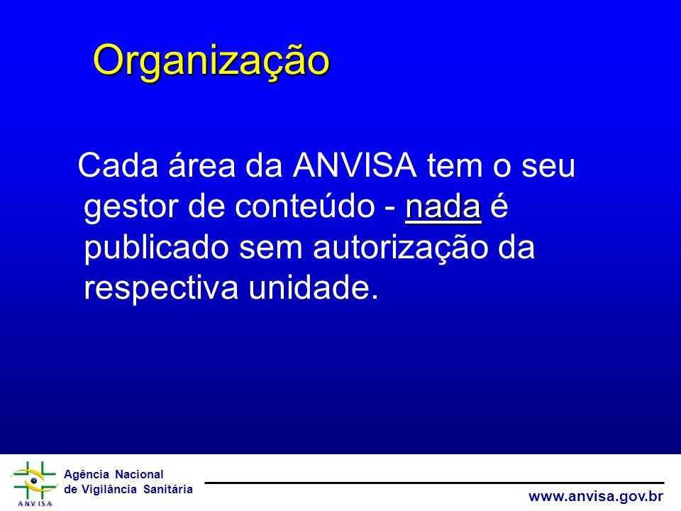 Agência Nacional de Vigilância Sanitária www.anvisa.gov.br nada Cada área da ANVISA tem o seu gestor de conteúdo - nada é publicado sem autorização da