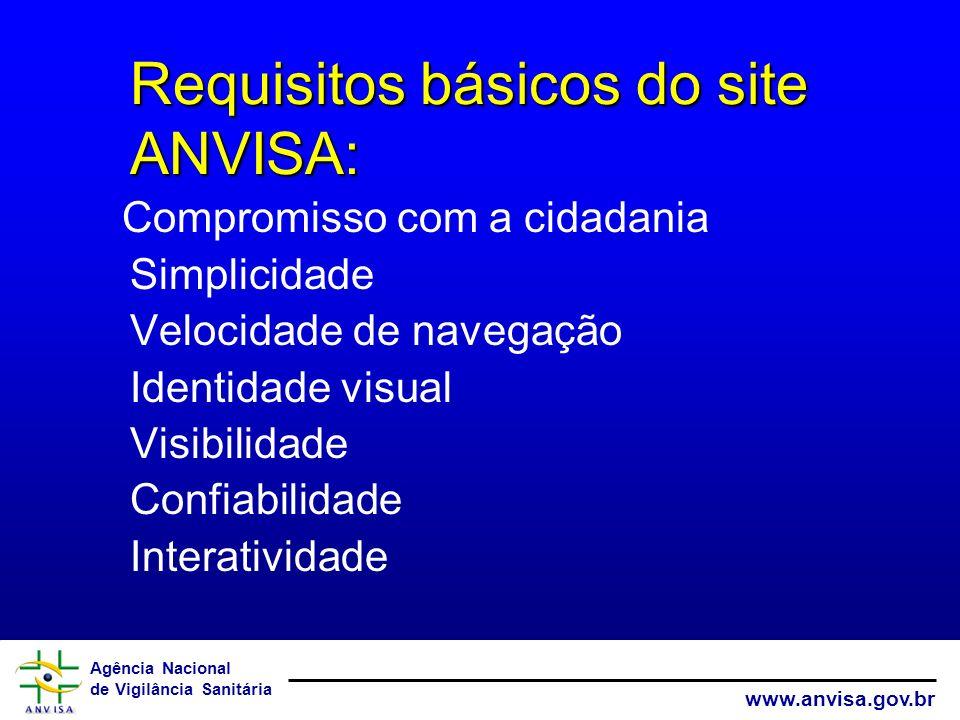 Agência Nacional de Vigilância Sanitária www.anvisa.gov.br Compromisso com a cidadania Simplicidade Velocidade de navegação Identidade visual Visibili