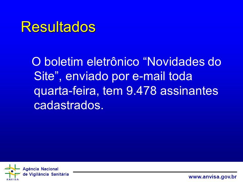 Agência Nacional de Vigilância Sanitária www.anvisa.gov.br Resultados O boletim eletrônico Novidades do Site, enviado por e-mail toda quarta-feira, te