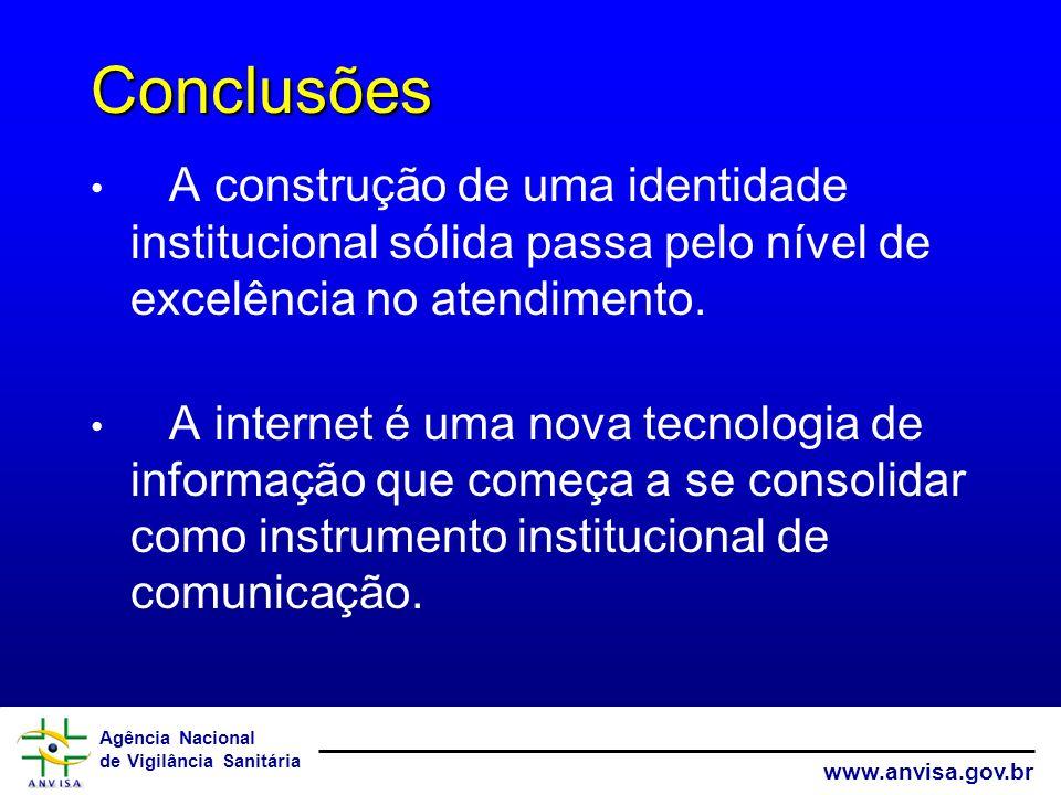 Agência Nacional de Vigilância Sanitária www.anvisa.gov.br Conclusões A construção de uma identidade institucional sólida passa pelo nível de excelênc