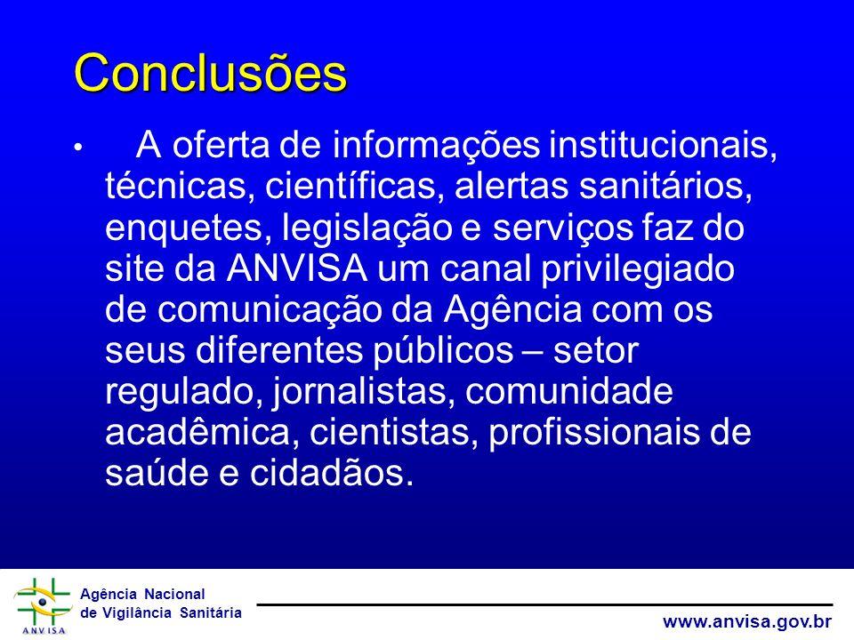 Agência Nacional de Vigilância Sanitária www.anvisa.gov.br Conclusões A oferta de informações institucionais, técnicas, científicas, alertas sanitário