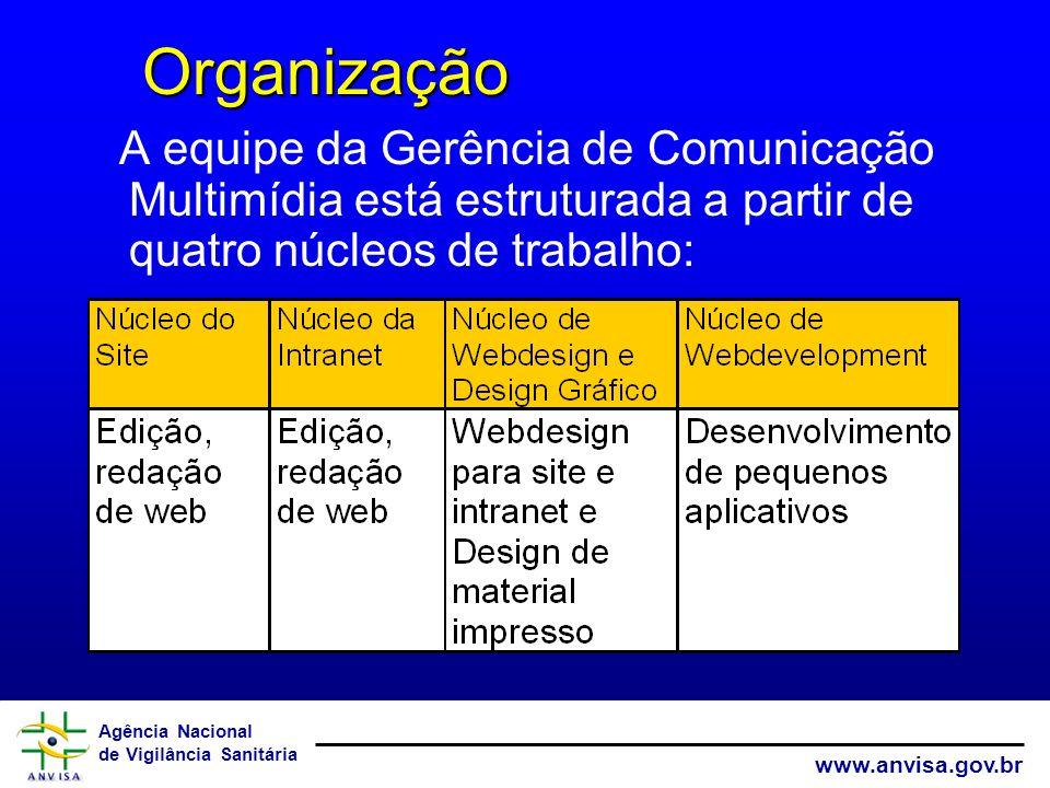 Agência Nacional de Vigilância Sanitária www.anvisa.gov.br A equipe da Gerência de Comunicação Multimídia está estruturada a partir de quatro núcleos