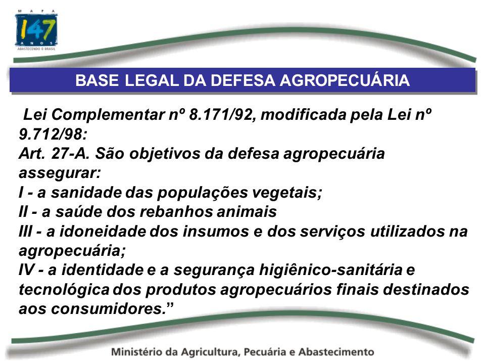 BASE LEGAL DA DEFESA AGROPECUÁRIA Lei Complementar nº 8.171/92, modificada pela Lei nº 9.712/98: Art. 27-A. São objetivos da defesa agropecuária asseg