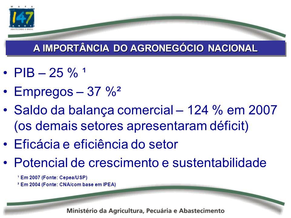 A IMPORTÂNCIA DO AGRONEGÓCIO NACIONAL PIB – 25 % ¹ Empregos – 37 %² Saldo da balança comercial – 124 % em 2007 (os demais setores apresentaram déficit) Eficácia e eficiência do setor Potencial de crescimento e sustentabilidade ¹ Em 2007 (Fonte: Cepea/USP) ² Em 2004 (Fonte: CNA/com base em IPEA)