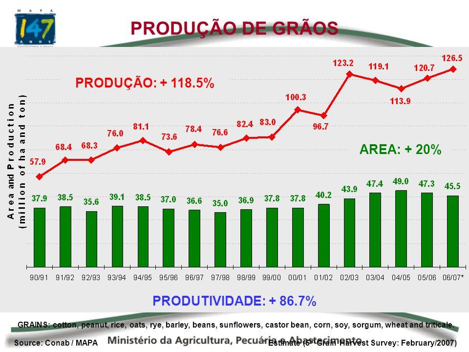 Source: Conab / MAPA * Estimate (5 th Grain Harvest Survey: February/2007) PRODUÇÃO DE GRÃOS GRAINS: cotton, peanut, rice, oats, rye, barley, beans, sunflowers, castor bean, corn, soy, sorgum, wheat and triticale.