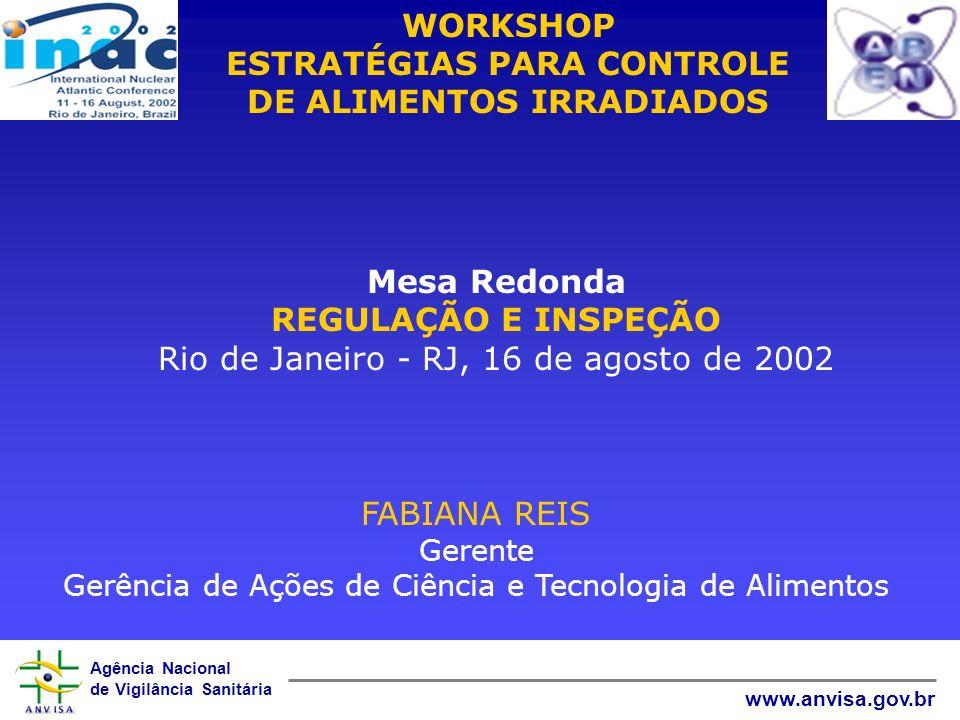 Agência Nacional de Vigilância Sanitária www.anvisa.gov.br WORKSHOP ESTRATÉGIAS PARA CONTROLE DE ALIMENTOS IRRADIADOS Mesa Redonda REGULAÇÃO E INSPEÇÃ
