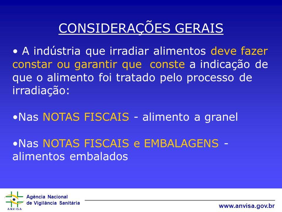 Agência Nacional de Vigilância Sanitária www.anvisa.gov.br CONSIDERAÇÕES GERAIS A indústria que irradiar alimentos deve fazer constar ou garantir que