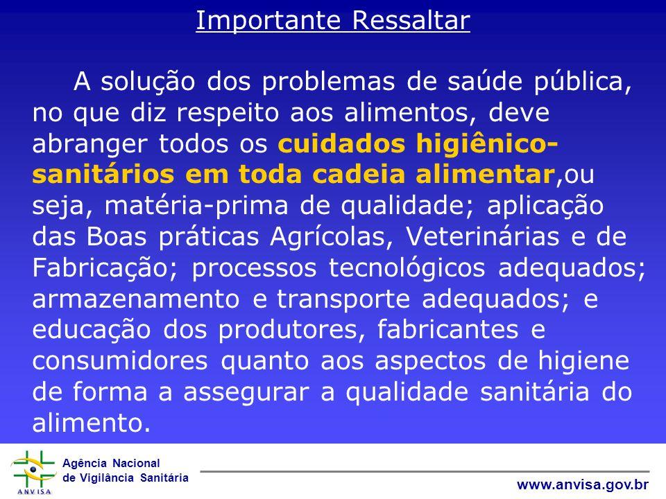 Agência Nacional de Vigilância Sanitária www.anvisa.gov.br Importante Ressaltar A solução dos problemas de saúde pública, no que diz respeito aos alim