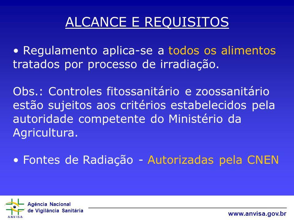 Agência Nacional de Vigilância Sanitária www.anvisa.gov.br ALCANCE E REQUISITOS Regulamento aplica-se a todos os alimentos tratados por processo de ir