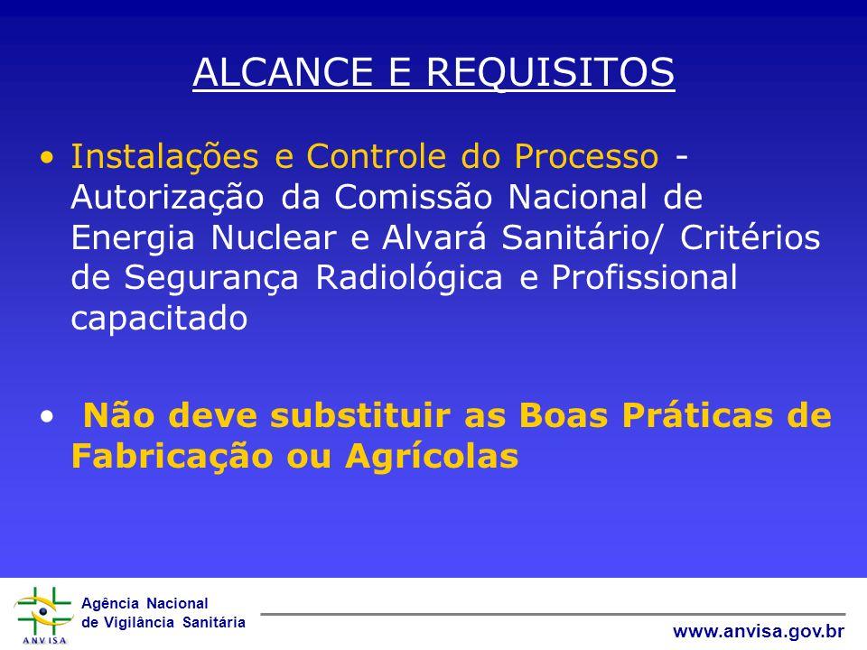 Agência Nacional de Vigilância Sanitária www.anvisa.gov.br ALCANCE E REQUISITOS Instalações e Controle do Processo - Autorização da Comissão Nacional