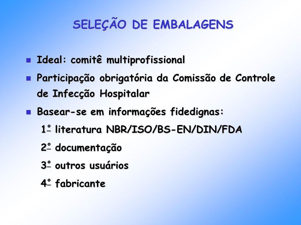 SELEÇÃO DE EMBALAGENS Ideal: comitê multiprofissional Ideal: comitê multiprofissional Participação obrigatória da Comissão de Controle de Infecção Hos