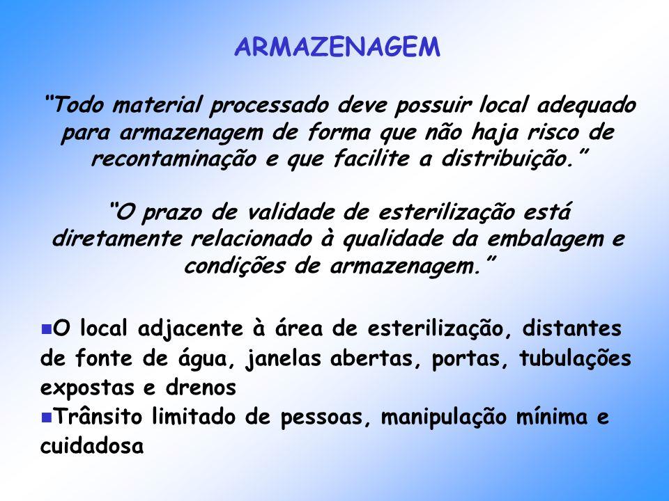 ARMAZENAGEM Todo material processado deve possuir local adequado para armazenagem de forma que não haja risco de recontaminação e que facilite a distr