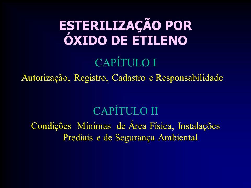 ESTERILIZAÇÃO POR ÓXIDO DE ETILENO CAPÍTULO I Autorização, Registro, Cadastro e Responsabilidade CAPÍTULO II Condições Mínimas de Área Física, Instalações Prediais e de Segurança Ambiental