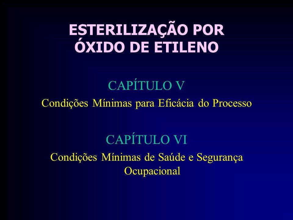 ESTERILIZAÇÃO POR ÓXIDO DE ETILENO CAPÍTULO V Condições Mínimas para Eficácia do Processo CAPÍTULO VI Condições Mínimas de Saúde e Segurança Ocupacional