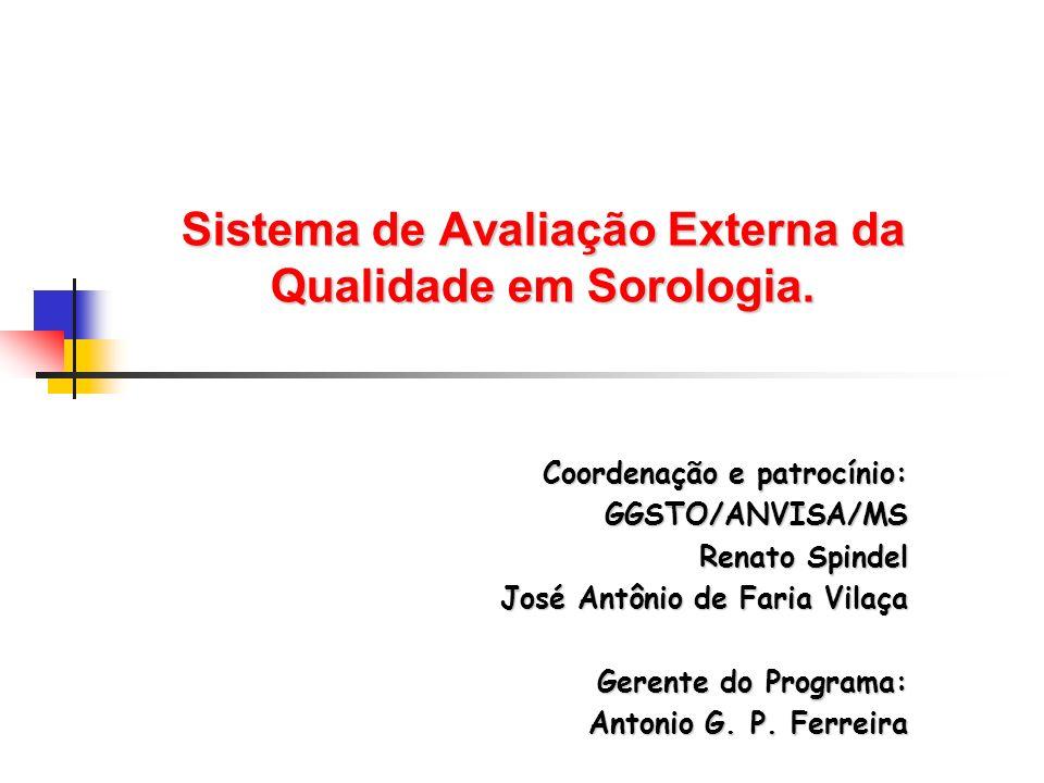 Sistema de Avaliação Externa da Qualidade em Sorologia. Coordenação e patrocínio: GGSTO/ANVISA/MS Renato Spindel Renato Spindel José Antônio de Faria