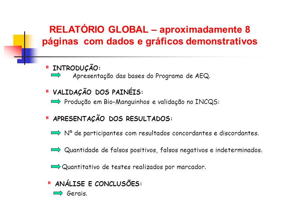 RELATÓRIO GLOBAL – aproximadamente 8 páginas com dados e gráficos demonstrativos Produção em Bio-Manguinhos e validação no INCQS: INTRODUÇÃO: Apresent