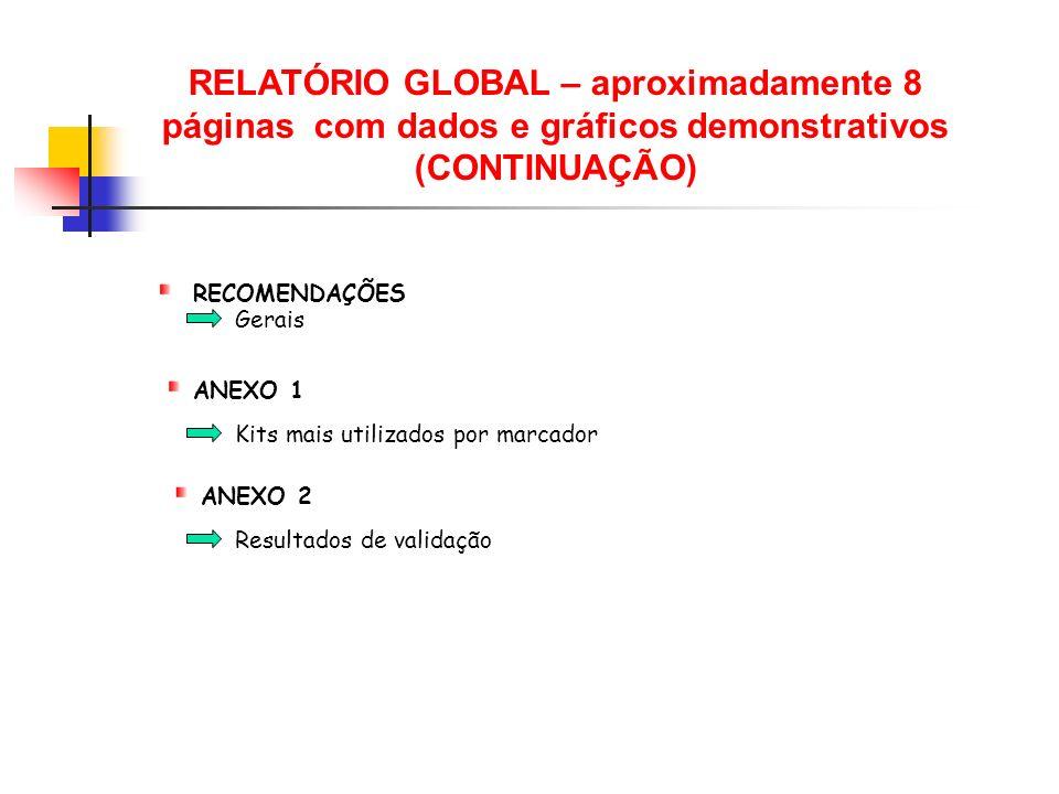RELATÓRIO GLOBAL – aproximadamente 8 páginas com dados e gráficos demonstrativos (CONTINUAÇÃO) Resultados de validação RECOMENDAÇÕES ANEXO 1 Kits mais