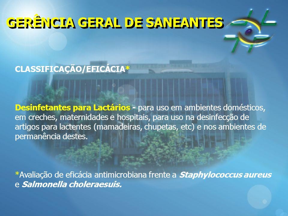 GERÊNCIA GERAL DE SANEANTES CLASSIFICAÇÃO/EFICÁCIA* Desinfetantes para Lactários - para uso em ambientes domésticos, em creches, maternidades e hospit